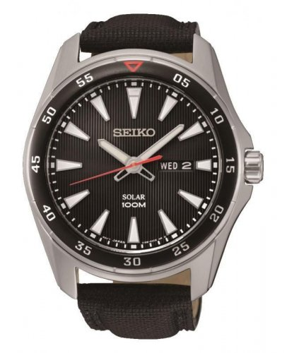 Seiko - Gents Solar, Stainless Steel and Black Calf Leather Day / Date Watch