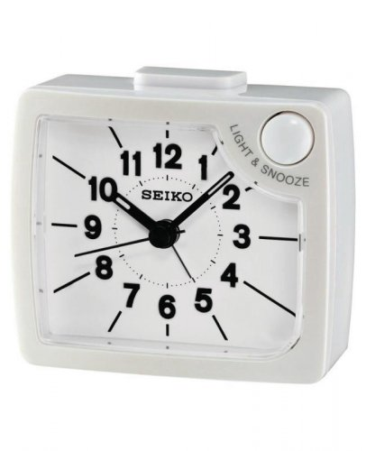 Seiko - White and Plastic Light and Snooze Alarm Clock, Size Small