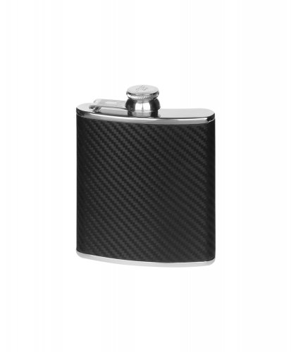 Harrison Brothers - Stainless Steel Carbon Effect Flask, Size 6oz