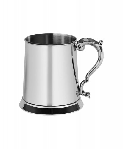 Harrison Brothers Stainless Steel Glass Bottomed Tankard, Size One Pint