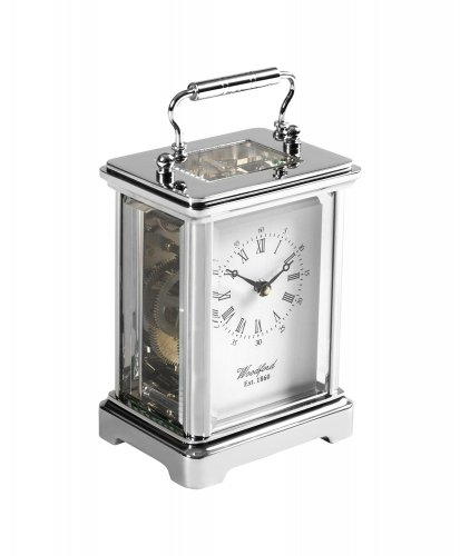 Guest and Philips - Stainless Steel On Brass Eight Day Carriage Clock