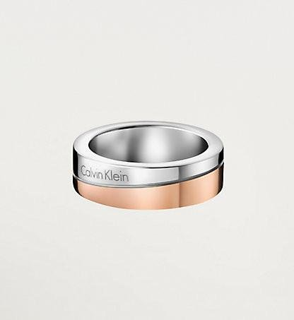 Calvin Klein - Two tone Steel, Rose Gold Plated Ladies Ring, Size N