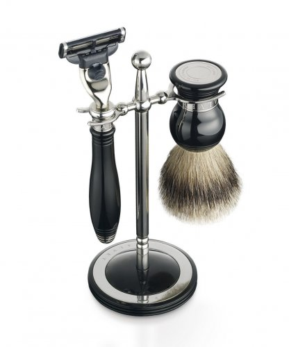 Dalvey - Classic Black Shaving Set and Stand