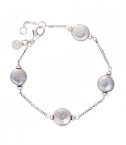 Claudia Bradby - Luxe Silver Coin, Pearl Set, Rhodium sterling Silver Necklace