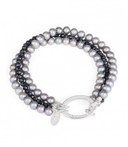 Claudia Bradby - Soiree, Pearl and Black Spinel Set, Silver Bracelet, Size 19cm