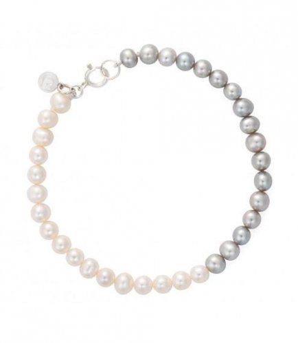 Claudia Bradby - Ombre, Pearl Set, Silver/Rhodium Coated Button Pearl Bracelet