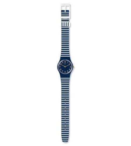 Swatch - Ora D'Aria, Silicone Strap Blue and White Striped Watch