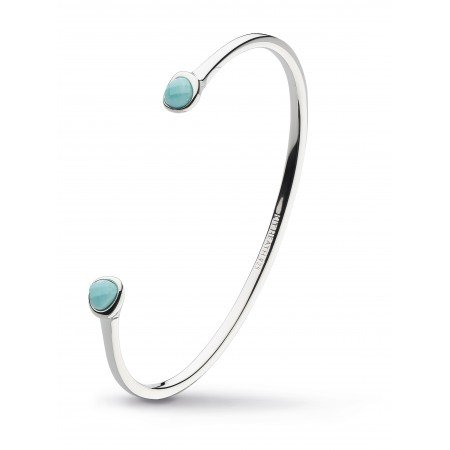 Kit Heath - Ladies Coast Pebble, Turquoise Set, Sterling Silver Bangle, Size M