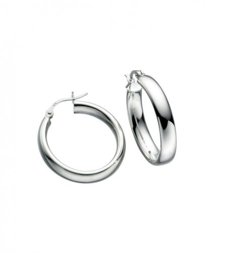 Gecko - Beginnings, Silver Oval Tube Hoop Earrings