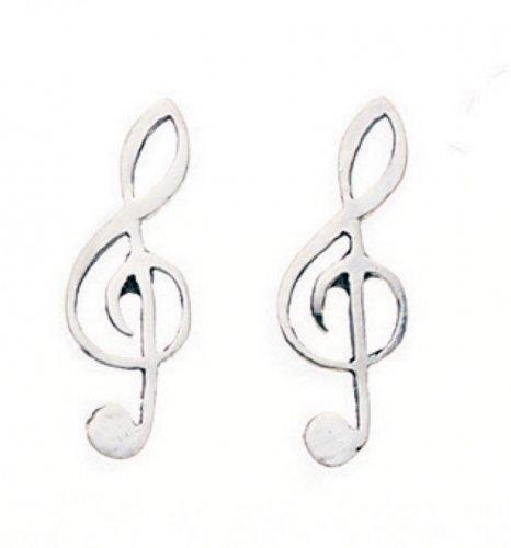 Gecko - Sterling Silver Treble Cleff Stud Earrings