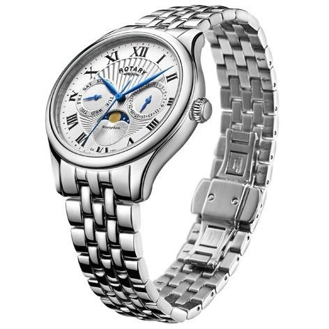 Rotary - Men's Stainless Steel Moonphase Bracelet Watch