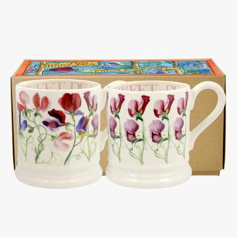Emma Bridgewater - Sweet Pea, Ceramic Set Of Two Boxed Mugs