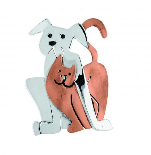 Tianguis Jackson - Sterling Silver Dog and Cat Brooch