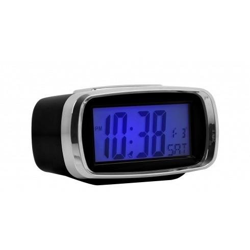 London Clock - Chrome, Black Digital Alarm Clock
