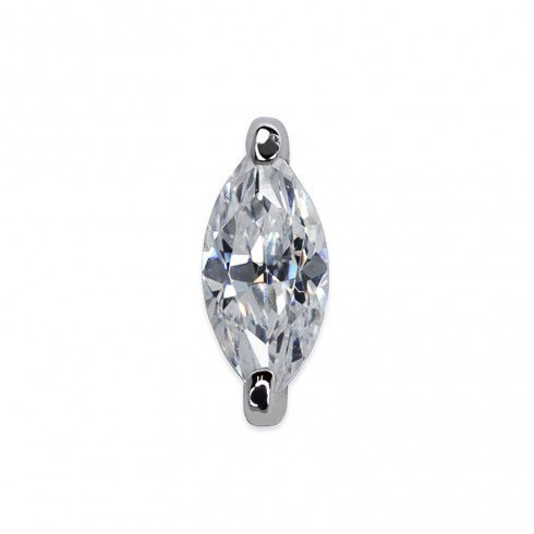 Carat London - Chelsea, Cubic Zirconia Set, Sterling Silver - - Marquise Single Stud