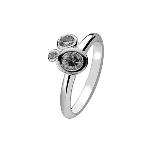 Virtue - Cubic Zirconia Set, Sterling Silver Three Stone Plain Band Ring