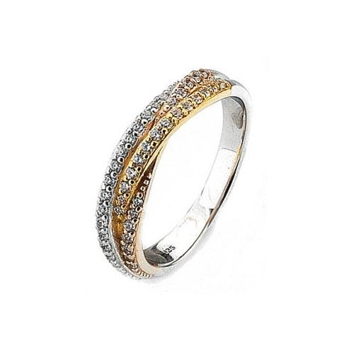 Virtue - Cubic Zirconia Set, Tricolour, Silver, Rose and Yellow Band Ring