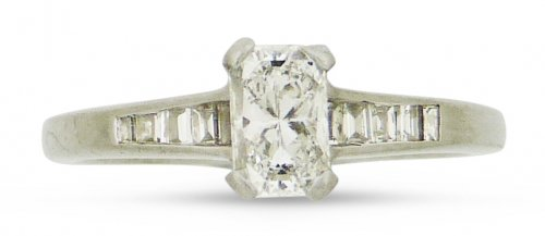 Antique Guest and PhilipsPlatimun and Diamond Phoenix Cut Solitaire Ring
