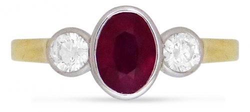 Guest and Philips - Diamond 0.35 Ruby 1.26ct Set, Yellow Gold - White Gold - 18ct 3 Stone Ring, Size O