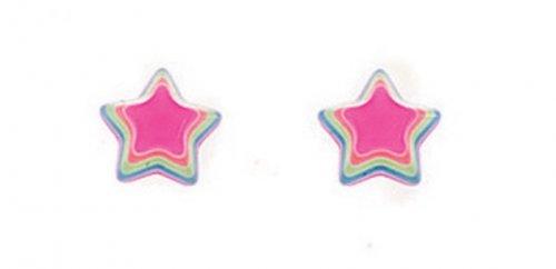 Gecko - Beginnings, Sterling Silver Multi Pink Star Earrings
