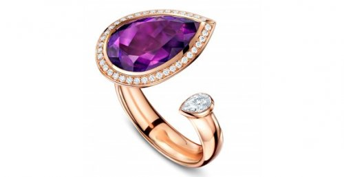 Andrew Geoghegan Amethyst and Diamond Satellite Ring in 18ct Rose Gold