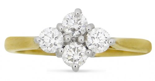 Guest and Philips - Diamond 0.57ct Set, Yellow Gold - - 18ct Cluster Ring, Size M