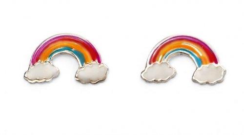 Gecko - Beginnings, Enamel Silver Rainbow Earrings