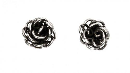 Gecko - Sterling Silver Rose Stud Earrings