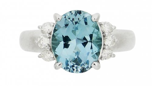 Antique Guest and Philips - Aqua 2.53 Set, Platinum - - Oval Single Single Stone Ring