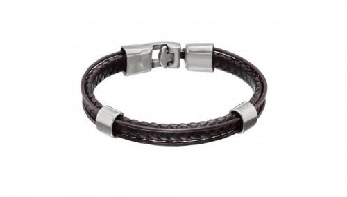UNO de 50 - Pasando, Brown Leather and Silver Plated Bracelet, Size L