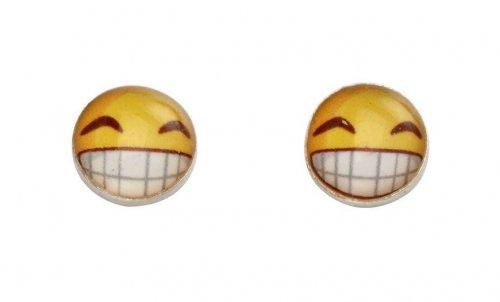 Gecko - Beginnings, Silver Smiley Emoji Earrings