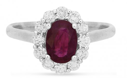 Guest and Philips - Diamond 0.43 Ruby0.83ct Set, White Gold - - 18ct Cluster Ring, Size L
