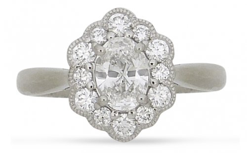 Guest and Philips - Diamond 0.97ct Set, Platinum - - Cluster Ring, Size M