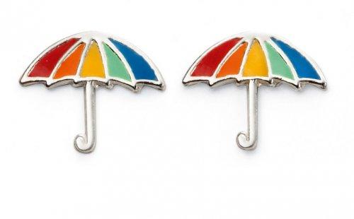 Gecko - Beginnings, Enamel Silver Rainbow Umbrella Earrings