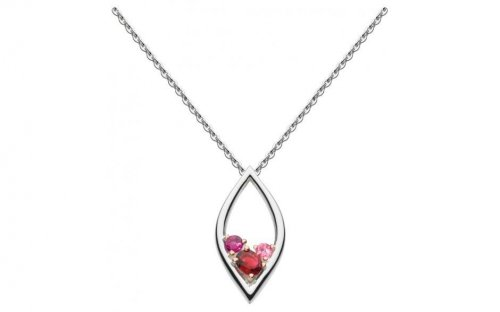 Kit Heath - Serena, Pink Tourmaline and Rhodolite Set, Sterling Silver and 18ct. Rose Gold Plate Necklace, Size 18