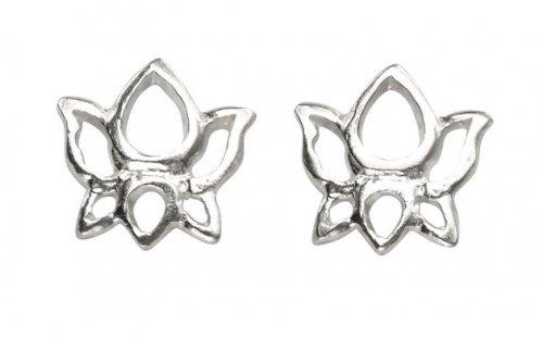 Gecko - Sterling Silver Flower Stud Earrings