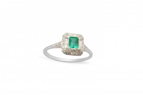 Rectangular Shaped Emerald and Diamond Cluster Ring