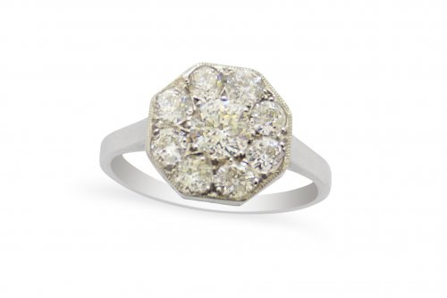 White Gold, Octagonal shaped Diamond cluster Ring in 18ct White gold