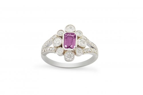 Fancy Milgrain Set Pink Sapphire and Diamond Platinum Cluster Ring