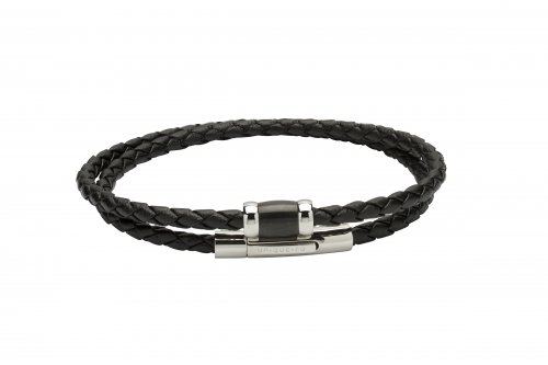 Unique - Black Leather with Black Plated Steel Double Wrap Bracelet