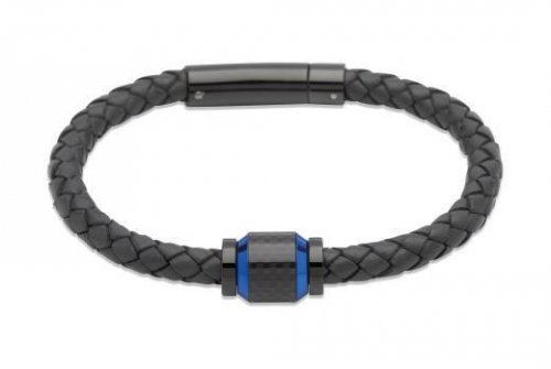 Unique - Navy Blue Leather and Stainless Steel Gents Bracelet, Size 21cm