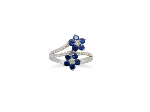 Double Sapphire and Diamond White Gold flower Cluster ring