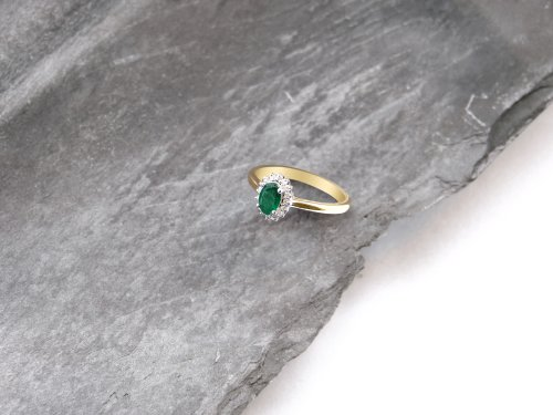 Herbert Marx - Emerald And Diamond Set, 18ct Yellow Gold Cluster Ring