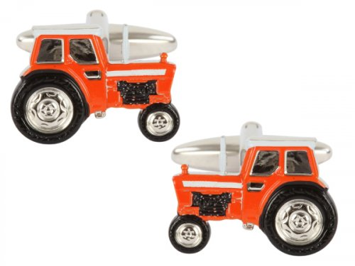 Dalaco - Orange Tractor Rhodium Plated Cufflinks