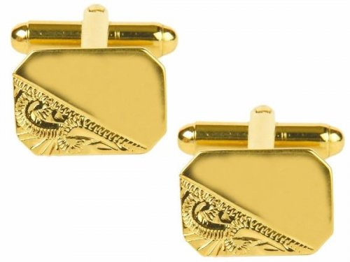 Dalaco - Yellow Gold Plated Rectangular Engraved Cufflinks
