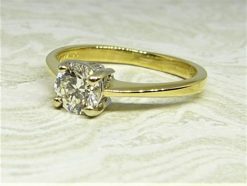 Antique Guest and Philips - Yellow and White Gold Diamond  Single Stone Ring