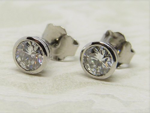 Antique Guest and Philips - Platinum Single Stone Stud Earrings