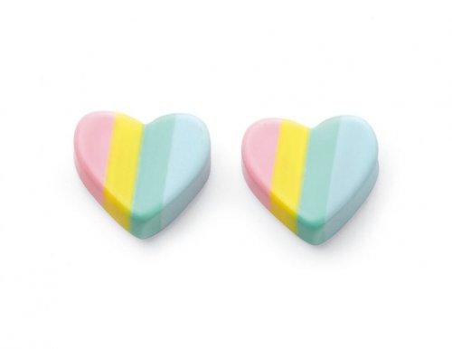 Gecko - Beginnings, Enamel Silver Heart Earrings