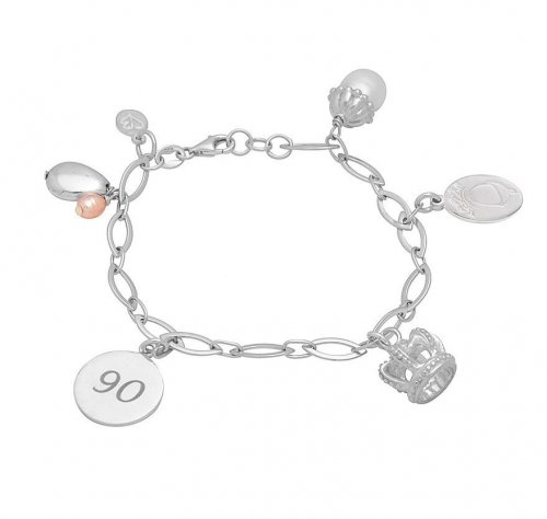 Claudia Bradby - Royal, Pearl Set, Sterling Silver Limited Edition Charm Bracelet, Size 19cm
