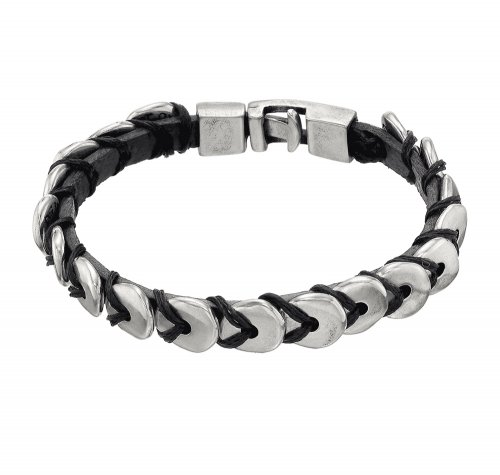 UNO de 50 - O te las Comes, Leather and Silver Plated Bead Bracelet